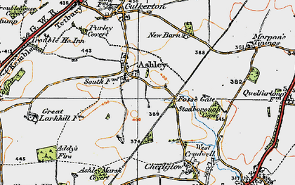 Old map of Ashley in 1919