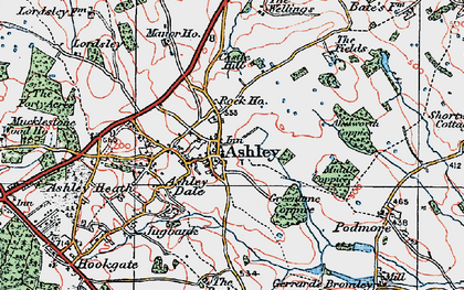Old map of Ashley in 1921