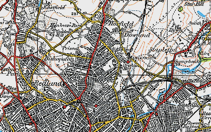Old map of Ashley Down in 1919