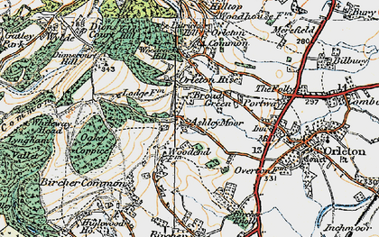Old map of Ashley Moor in 1920