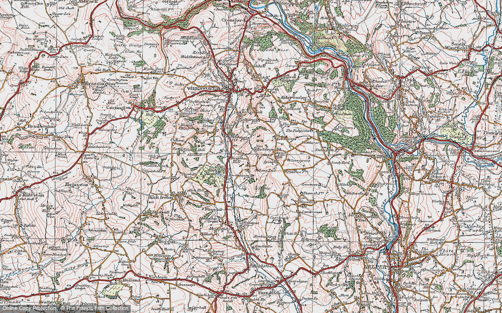 Old Map of Historic Map covering Lane End in 1921