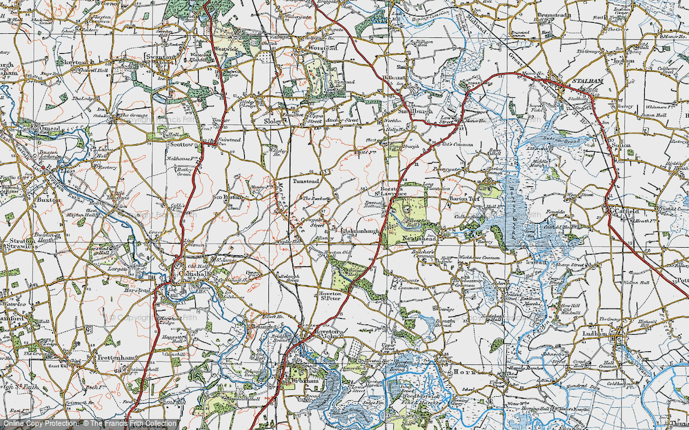 Old Map of Ashmanhaugh, 1922 in 1922