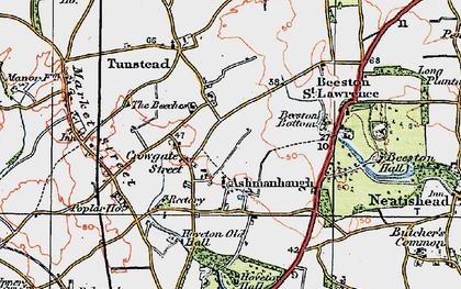 Old map of Ashmanhaugh in 1922