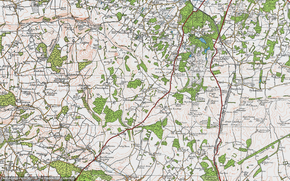 Old Map of Ashmansworth, 1919 in 1919