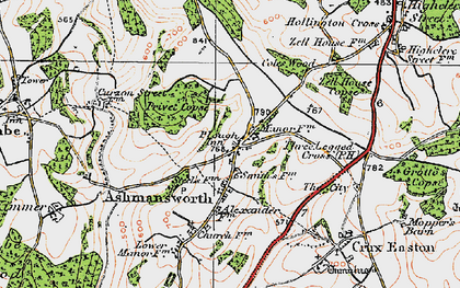 Old map of Ashmansworth in 1919