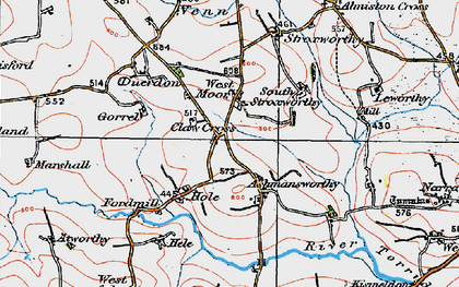 Old map of Ashmansworthy in 1919