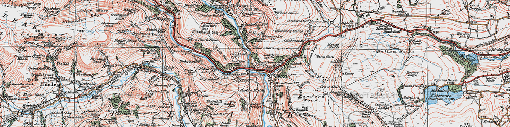 Old map of Win Hill in 1923