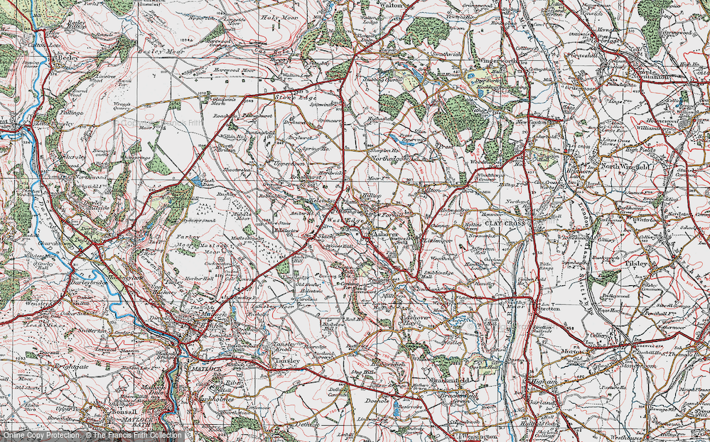 Old Map of Ashover, 1923 in 1923