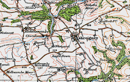 Old map of Ashreigney in 1919