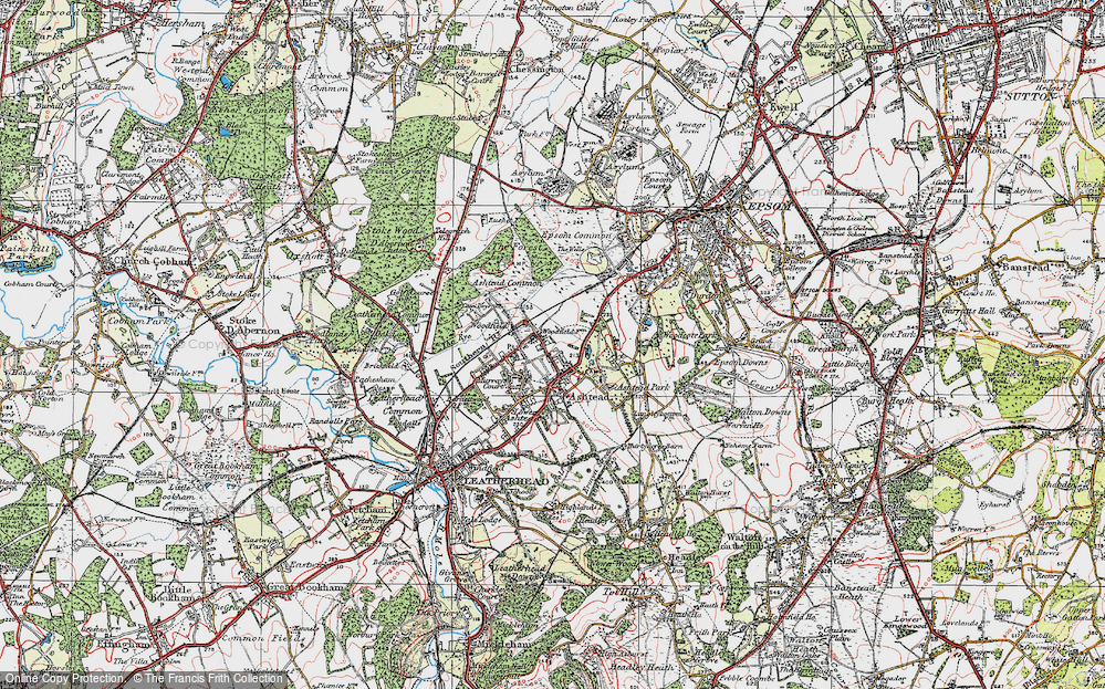 Old Map of Historic Map covering Ashtead Park in 1920