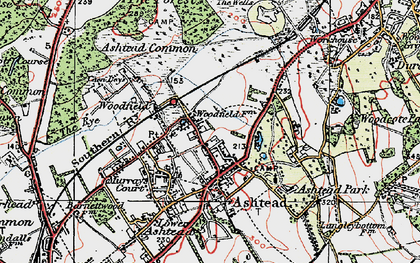 Old map of Ashtead Park in 1920
