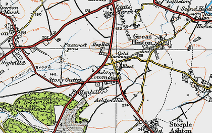Old map of Ashton Common in 1919