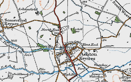 Old map of Ashton Keynes in 1919