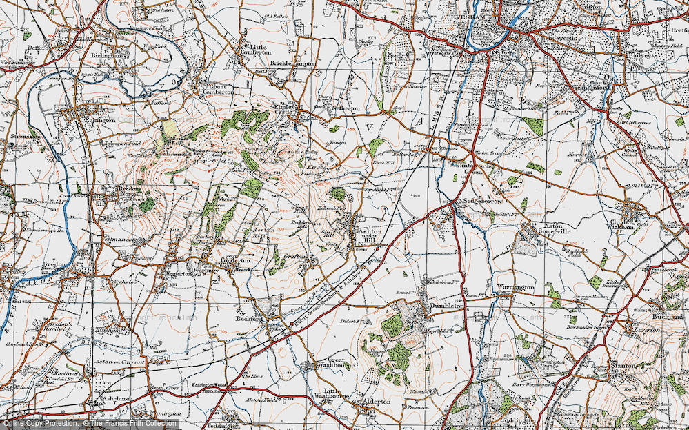 Old Map of Ashton under Hill, 1919 in 1919