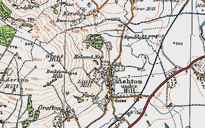 Old map of Ashton under Hill in 1919