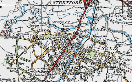 Old map of Ashton Upon Mersey in 1923