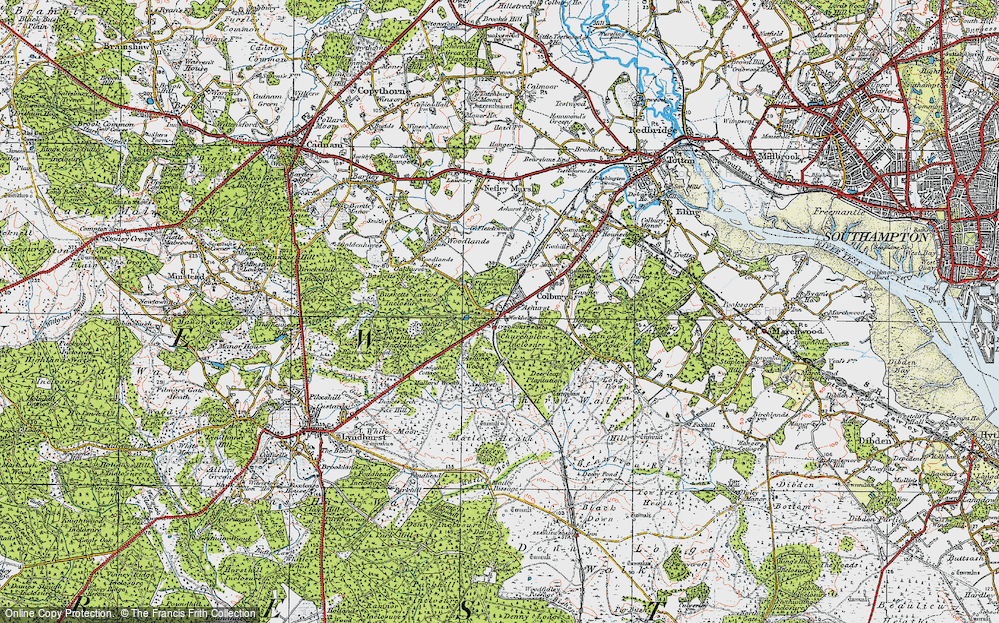 Old Map of Historic Map covering Ashurst Wood in 1919