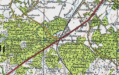 Old map of Ashurst Lodge in 1919