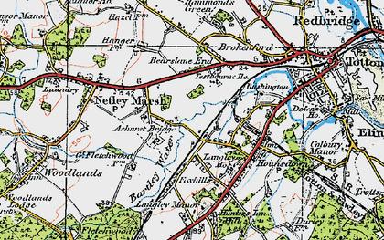 Old map of Ashurst Bridge in 1919