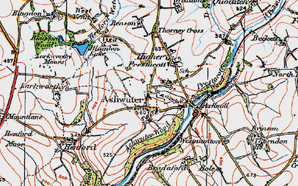 Old map of Ashwater in 1919