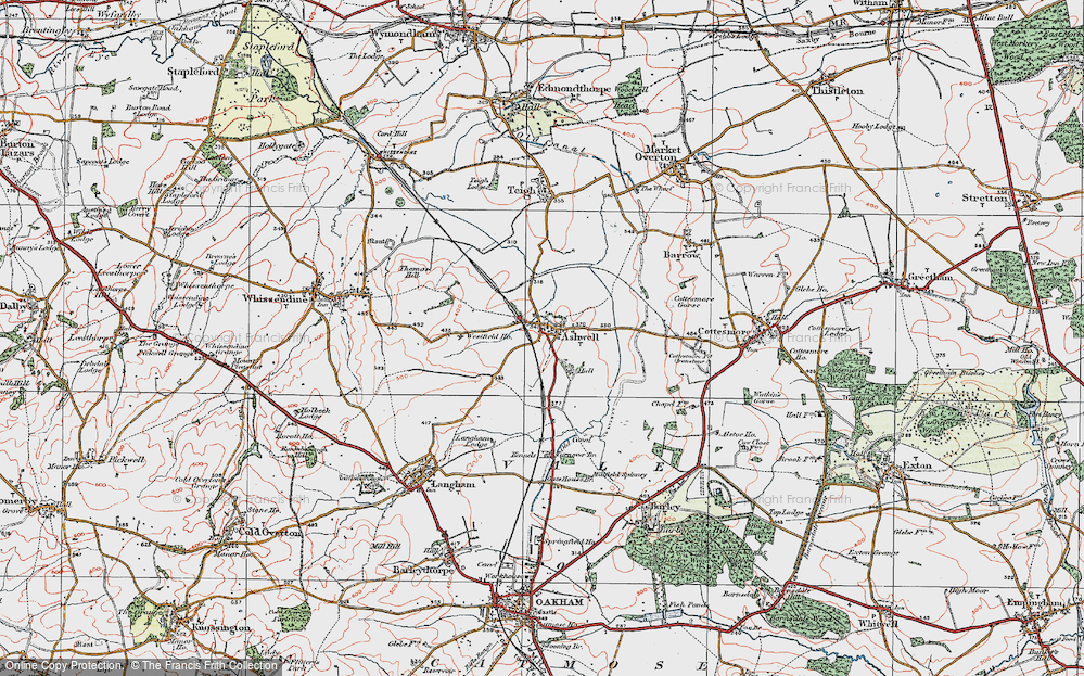 Old Map of Historic Map covering Ashwell Court in 1921