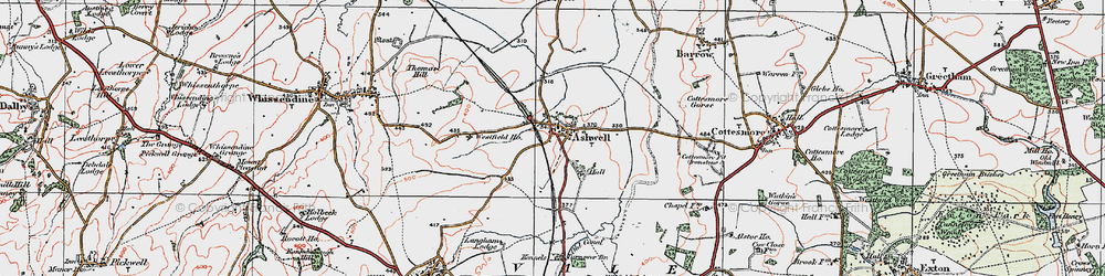 Old map of Ashwell in 1921