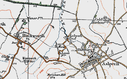 Old map of Ashwell End in 1919