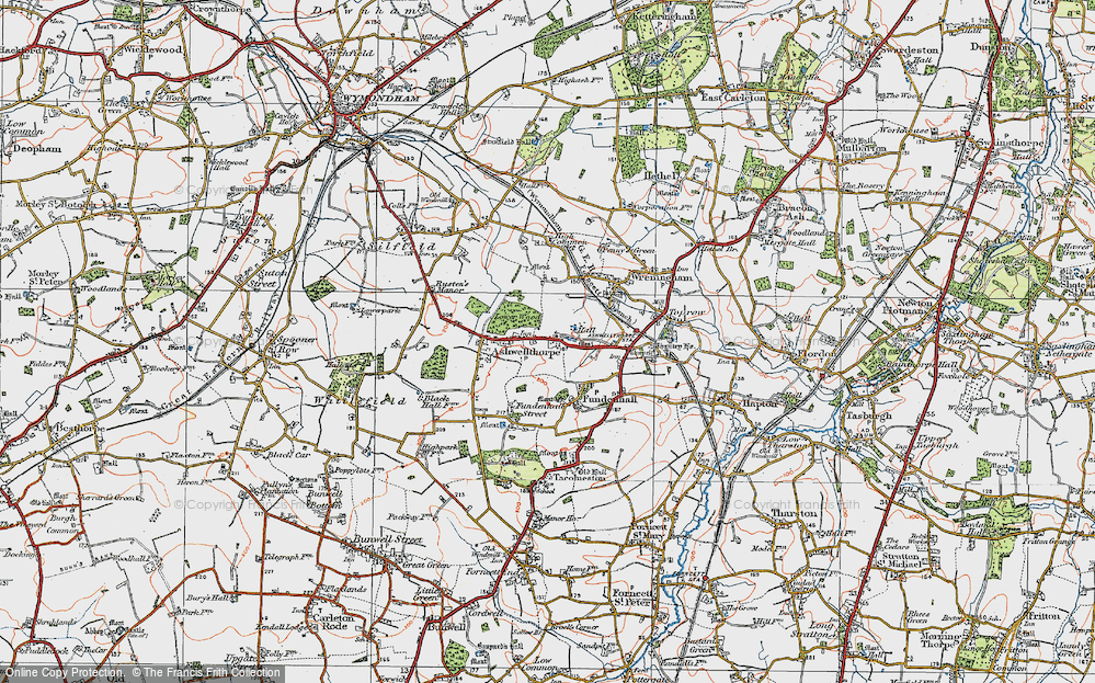 Old Map of Ashwellthorpe, 1922 in 1922