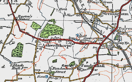 Old map of Ashwellthorpe in 1922