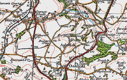 Old map of Ashwick in 1919