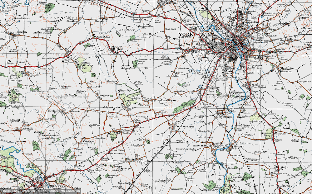 Old Map of Askham Bryan, 1924 in 1924