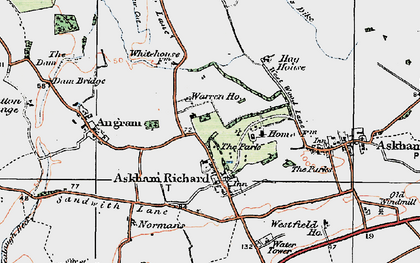 Old map of Askham Richard in 1924