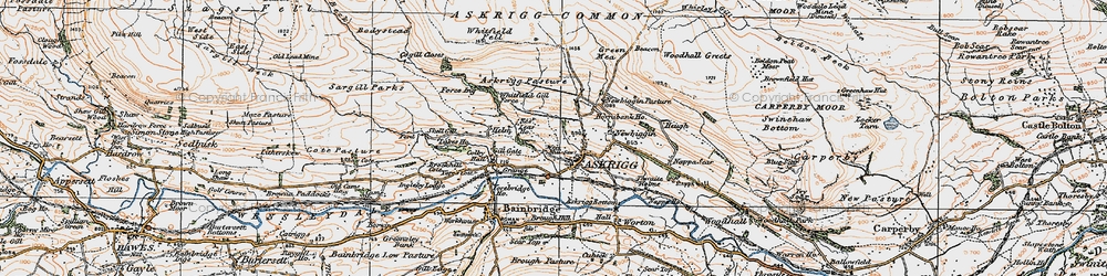 Old map of Askrigg in 1925