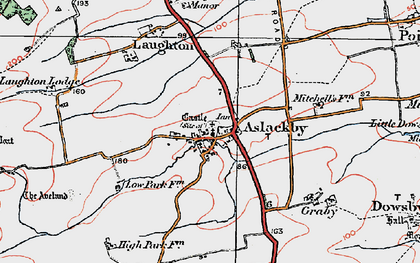 Old map of Aslackby in 1922