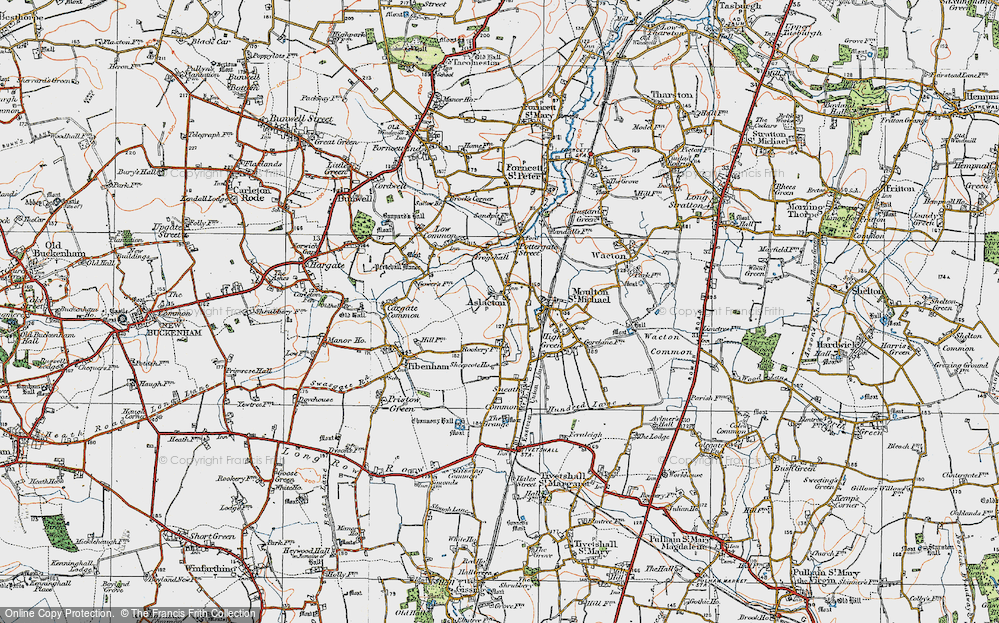 Old Map of Aslacton, 1921 in 1921
