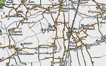 Old map of Aslacton in 1921