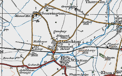 Old map of Aslockton in 1921