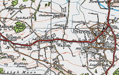 Old map of Asney in 1919