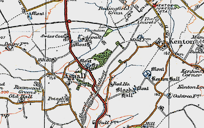 Old map of Aspall Ho in 1921
