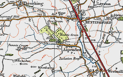 Old map of Aspenden in 1919