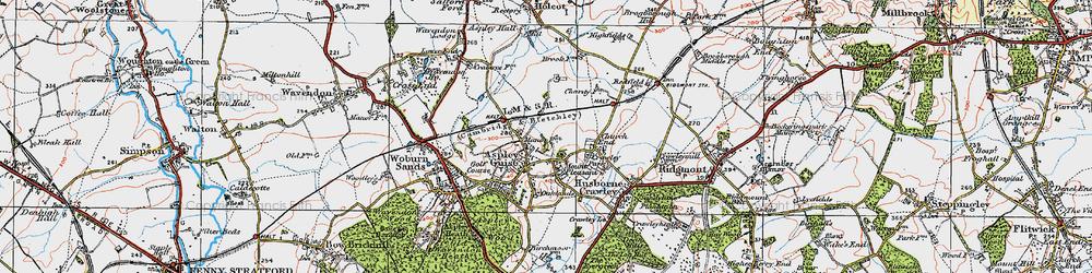 Old map of Aspley Guise in 1919