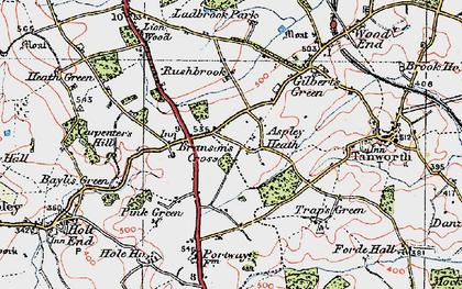 Old map of Aspley Heath in 1919