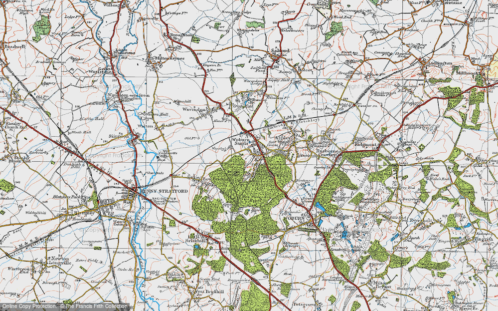 Old Map of Historic Map covering Aspley Wood in 1919