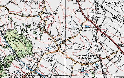 Old map of Aspull in 1924
