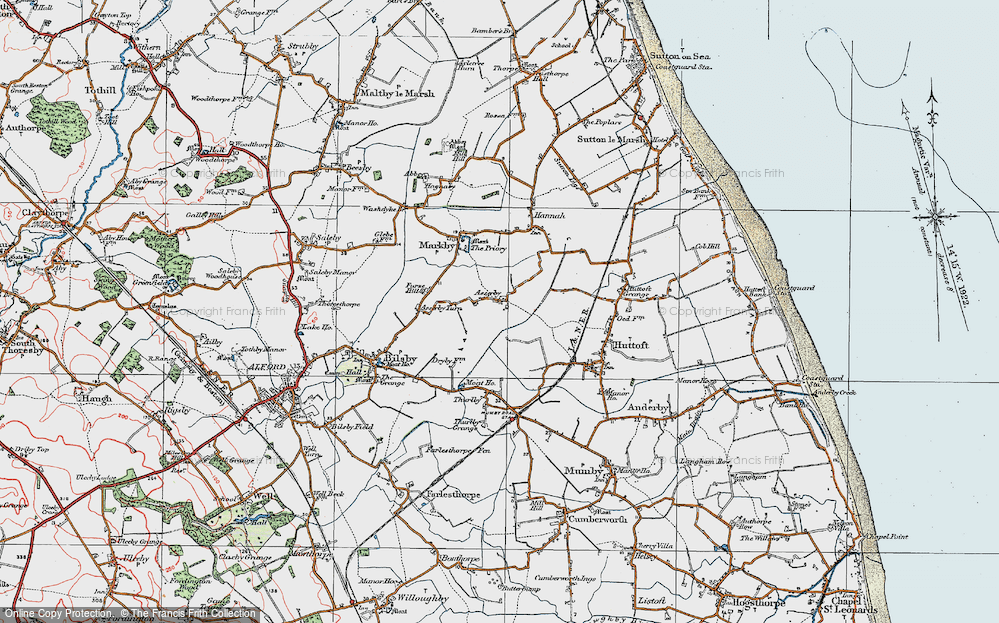 Old Map of Asserby, 1923 in 1923