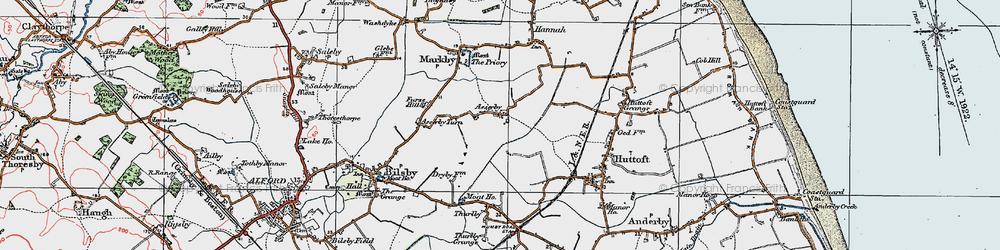 Old map of Asserby in 1923