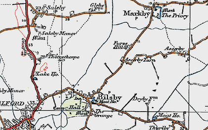 Old map of Asserby Turn in 1923