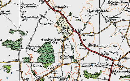 Old map of Assington in 1921