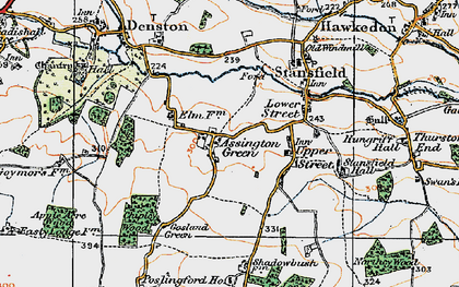 Old map of Assington Green in 1921