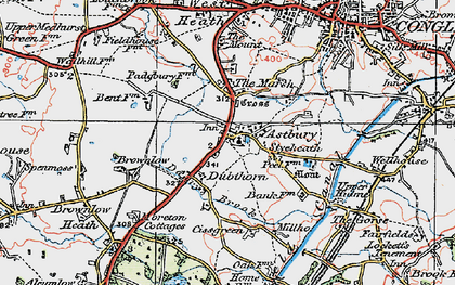 Old map of Astbury in 1923